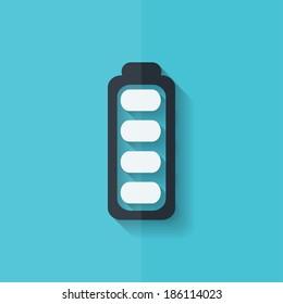 Full battery icon. Accumulator. Flat design.