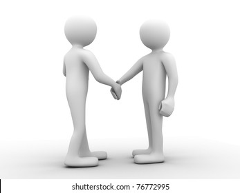 full body 3d people greeting each other with a handshake