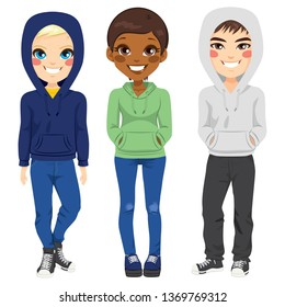 Full body illustration of three happy young teenagers boys and girl from different ethnicity smiling with casual outfit posing together