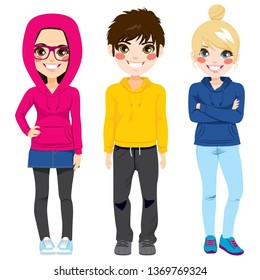 Full body illustration of three happy young teenagers girls and boy smiling with colorful casual outfit posing together