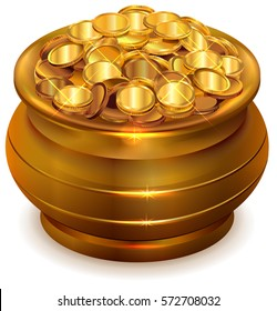 Full ceramic pot with gold coins. Isolated on white illustration