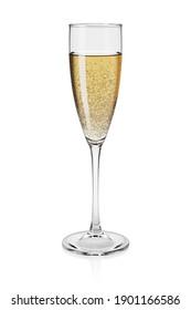 Full champagne flute isolated on white background. 3D rendering illustration.