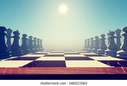 Full chess board ready to play . This is a 3d render illustration .