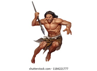 Full Color Digital Illustration of Awesome Stone Ages Caveman Hunting with Stone Spear