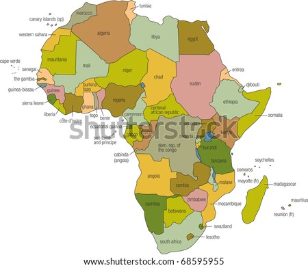 Full Color Map Africa Country Names Stock Illustration 68595955 ...