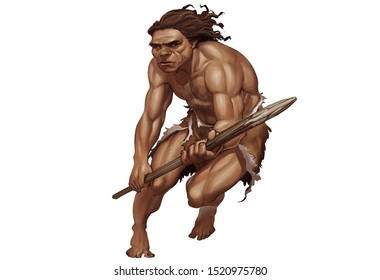 Full Color Realistic Illustration of Neanderthal Holding Wooden Spears in Striking Pose