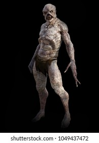 Full figure portrait of a daemon monster creature standing, 3D rendering. Black background.