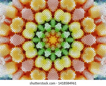 Full Frame Abstract Background of Colorful Voronoi Flower Pattern