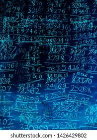 Full Frame Blue Illustration Background of Hand-Written Math Calculations