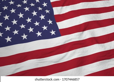 Full frame close-up on a waving American flag in 3D rendering.