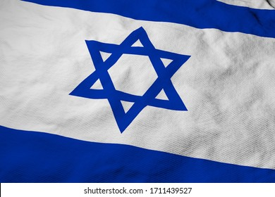 Full frame close-up on a waving Israeli flag in 3D rendering.