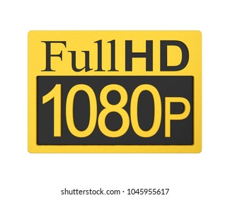 Full HD 1080p Icon Isolated. 3D rendering