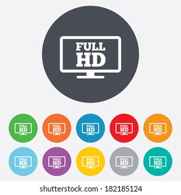 Full hd widescreen tv sign icon. High-definition symbol. Round colourful 11 buttons.