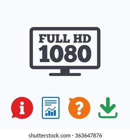 Full hd widescreen tv sign icon. 1080p symbol. Information think bubble, question mark, download and report.