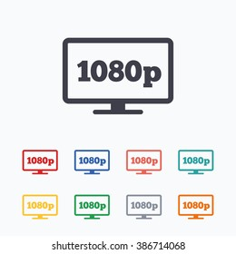 Full hd widescreen tv sign icon. 1080p symbol. Colored flat icons on white background.