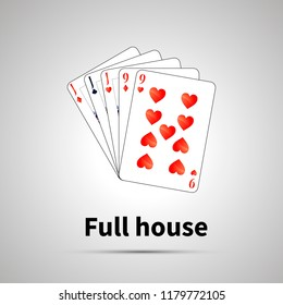 Full house poker combination with shadow on gray