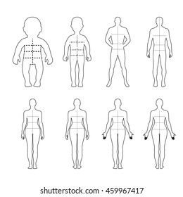 Full length front, back human outlined silhouette illustration with marked body's sizes lines, isolated on white