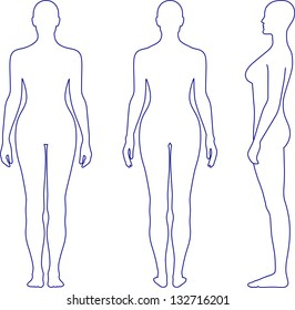 Full length outline front, back, side view of a standing naked woman. You can use this image for fashion design and etc.