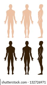 Full length profile, front, back view of a standing naked man. You can use this image for fashion design and etc.
