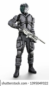 Full length vertical illustration of a masked futuristic armored sci fi soldier on an isolated white background. 3d rendering