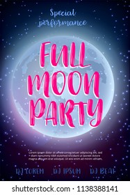 Full Moon Beach Party Flyer.  Design EPS 10