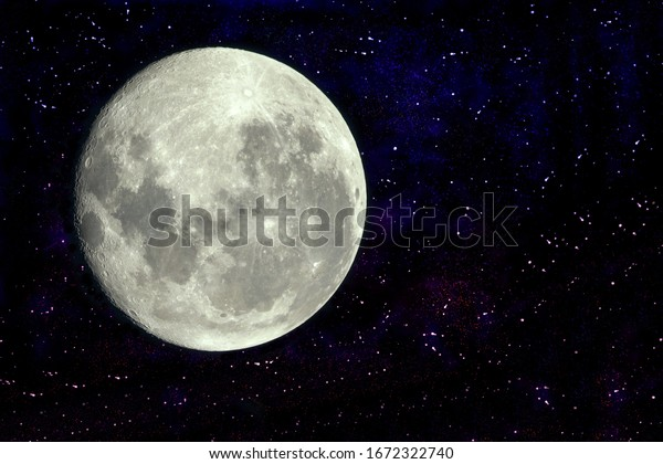 Full moon with galaxy and stars with copy space on the right side. Some elements of this image provided by NASA