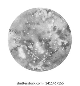 Full moon. Grey colours, circle, full view. Watercolour planet on a white background