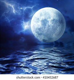 Full moon. A huge moon reflected in the water. 3D Illustration