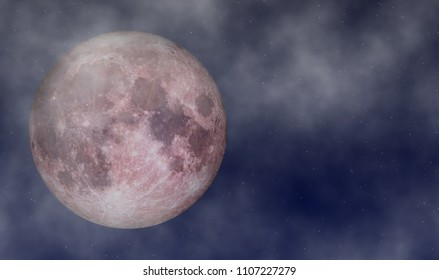 Full moon of June in every year we calls Strawberry Moon design on dark blue sky background with stars field and clouds. Element of this image furnished by NASA.