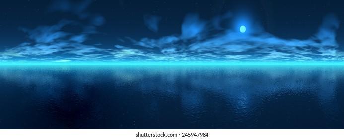 Full moon night over ocean, 360 degrees effect
