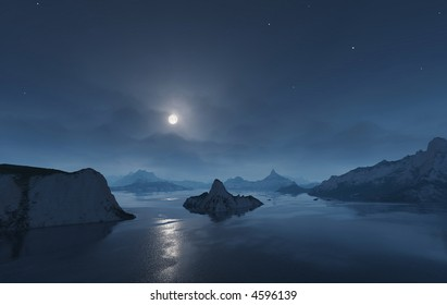 full moon over the islands of a nightly sea