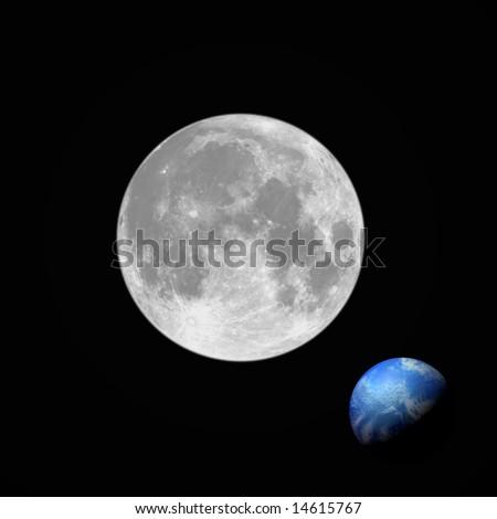 full moon planet earth square frame stock illustration 14615767