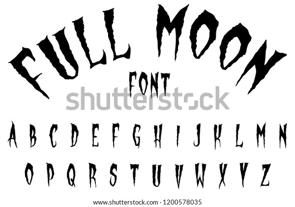 Full Moon Scary Halloween Font Stock Illustration 1200578035