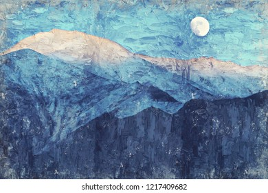 Full moon and snow mountain, India. Digital Art Impasto Oil Painting Abstract by Photographer.