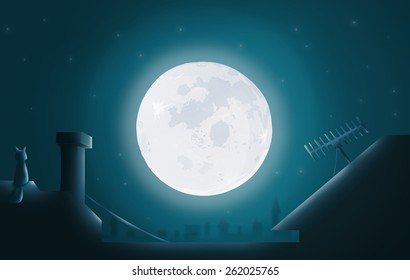 Full Moon or Supermoon viewed from a rooftop. A Nighttime Silhouette with a Cat sitting Besides a Chimney. Raster Concept Illustration.