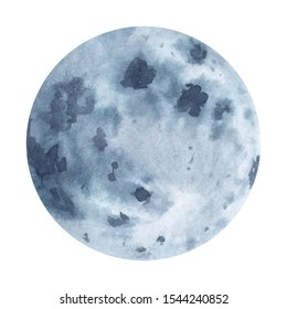 Full moon watercolor hand painted abstract planet illustration isolated on white background. Symbol of Earth natural cycle, new beginning, renewal, mindfulness, magic.