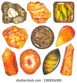 Full orange set of watercolor gems. Sacral chakra stones and healing crystals. Bronze, Amber stone, Golden Tiger Eye, Carnelian, Calcite