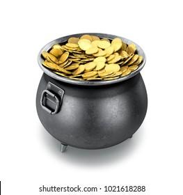 Full pot of gold coins on a white background. 3D illustration