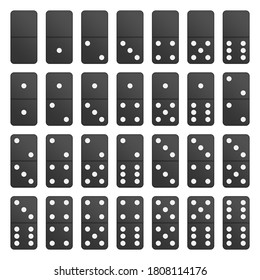 Full Set black domino pieces in realistic style. Dominoes bones complete set isolated on white background. Top view.