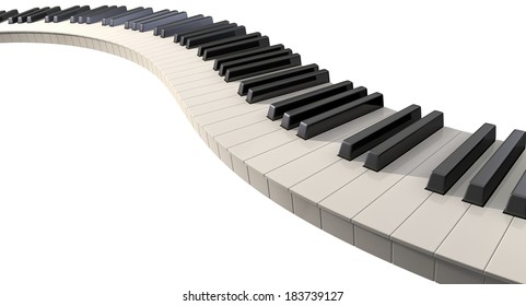 A full set of regular piano keys laid out creating a wave on an isolated white background