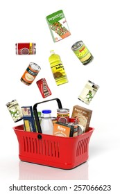 Full shopping grocery basket with products isolated on white