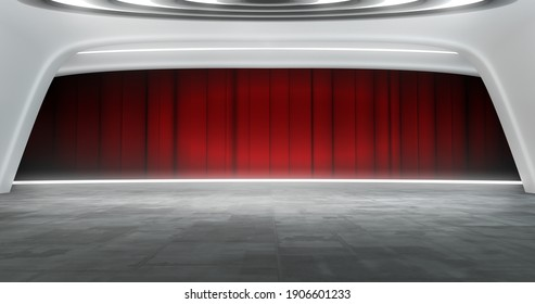 Full shot of a futuristic virtual theater background with red curtain, ideal for live shows or music events. 3D rendering backdrop suitable on VR tracking system stage sets, with green screen