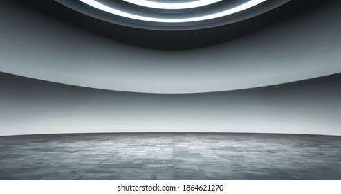 Full shot of a virtual meeting room background, ideal for tv shows, commercials or events. 3D rendering backdrop suitable on VR tracking system stage sets, with green screen