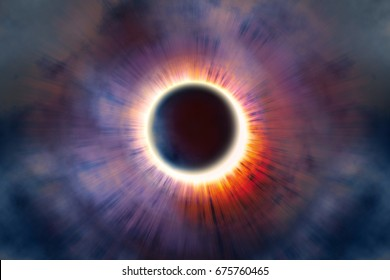 Full solar eclipse, astronomical phenomenon - full sun eclipse. The Moon covering the Sun in a partial eclipse. 3D illustration.