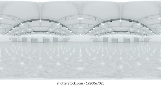 Full spherical hdri panorama 360 degrees of empty exhibition space. backdrop for exhibitions and events. Tile floor. Marketing mock up. 3D render illustration