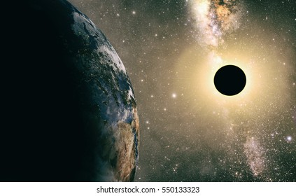 full sun eclipse with Abstract scientific background. Elements of this image furnished by NASA