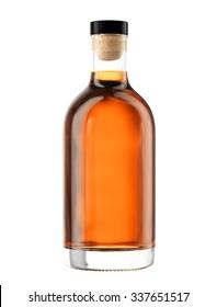 Full whiskey, cognac, brandy bottle isolated on white background. Mock up for you design.