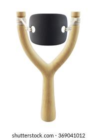 Full-face wooden slingshot isolated on white background. 3d rendering.