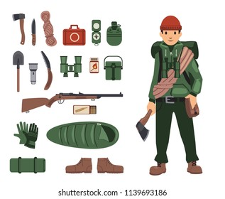 Fully bushcraft-equipped man with isolated bushcraft items nearby. Survival kit in details. Set of isolated images on white background. Illustration. Flat style. Raster version. Raster version.