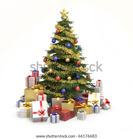 fully decorated christmas tree with many presents and isolated on white background - Fully Decorated Christmas Tree